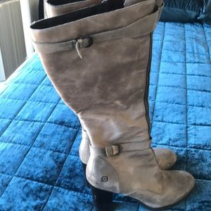Born Boots Taupe/Grey Leather with Zipper Size 9.5